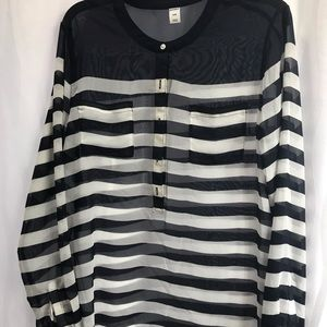 Sheer blue and white striped blouse